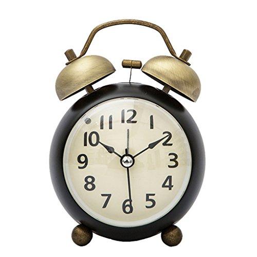 Silencieux Horloge Reveil Alarme En Bois Dual Cloche Lampe Nuit Cadeau Fête