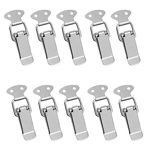 10 Stück Spannverschluss, Stahl Verschluss, 57 × 16 mm, Edelstahl Verschluss Haspe Umschalten Verriegeln Eisenwaren Haspe für Case Box, Toolbox, Schublade, Schrank, Truhe