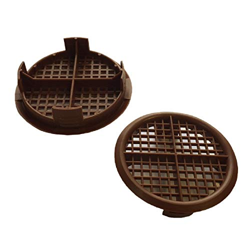 Timloc 50 X Plastic Round Soffit Air Vents / Upvc Push Fit Eaves Disc / Fascia 70Mm Brown