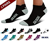 SB SOX UltraLite Compression Running Socks for Men & Women (2 Pairs) - Perfect Option to Our Compression Socks - Best No-Show Socks for Running, Athletic, Everyday Use (Black/Gray, Medium)