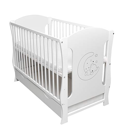 Cuna de bebé con cajón convertible, sofá con colchón incluido, 120 x 60 cm, color blanco
