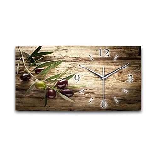 Kreative Feder Olive XXL Natur Küchenuhr Designer leise Wanduhr modernes Design OHNE Ticken * (50x25cm Quarzuhr)