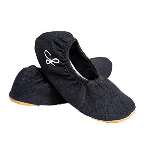 Siegertreppchen® Zapatillas Deportivas Zapatos de Gimnasia Zapatos de Baile Emma Talla 34 Cuero Negro para Niñas y Niños. Suela Transpirable y Antideslizante.