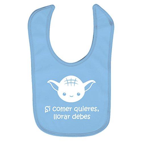 ClickInk Babero de bebé Si comer quieres, llorar debes. Parodia. Babero bebé divertido. Bebé friki. Babero friki. (azul)