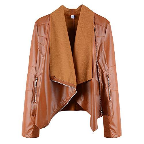 DISCOUNTL Diagonale Reißverschluss unregelmäßige große Revers jacken Damen College Jacke Damen leichte Jacke Damen Langarm Damen PU-Lederjacke