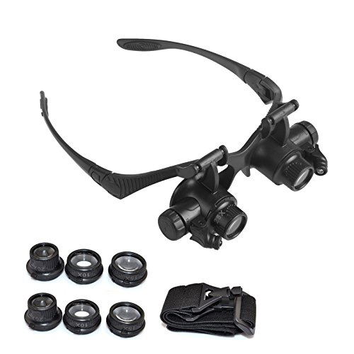 Head Mount Magnifier with LED Light Headband Bracket Interchangeable with 10X 15X 20X 25X Magnifying Glasses Lens for Watch Jeweler Repair Close Work Loupe