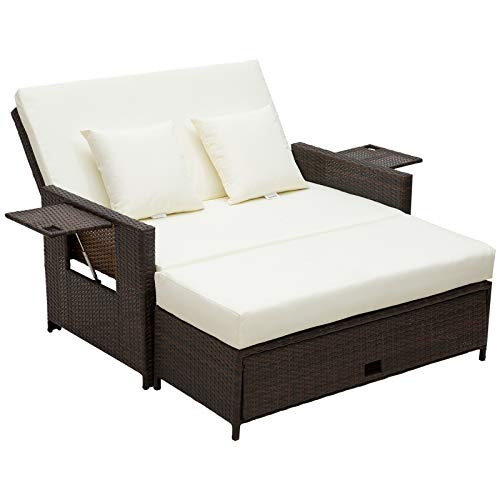 Outsunny 2 Seater Assembled Garden Patio Outdoor Rattan Furniture Sofa Sun Lounger Daybed with Fire Retardant Sponge - Brown