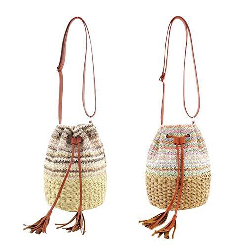 Feing Straw Bag Borse a tracolla da donna con coulisse e secchiello, (1), Taglia unica