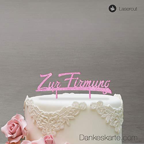 Dankeskarte.com Cake Topper Zur Firmung - für die Torte zur Firmung - Pink Glitzer - XL - Tortenaufsatz, Kuchen, Tortendeko, Tortenstecker, Kuchanaufsatz, Kuchendeko