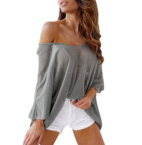 Tshirt Damen Sommer Locker Freizeit Oberteile Dünne Sonnendurchlässiger Sonnenschutz T-Shirts Young Fashion Luftig Unifarben Bikini Cover Up (Grau,XL)