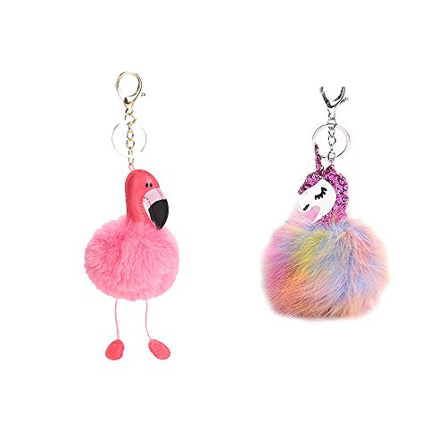 WayOuter 2 Pack Flamingo y Unicornio Llavero Borla Llavero para Bolso, Mochila,...