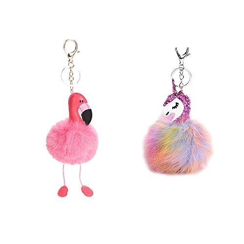 WayOuter 2 Pack Flamingo y Unicornio Llavero Borla Llavero para Bolso, Mochila, Teléfono móvil, Llavero de Coche Decoración Accesorio (Dorado & Plata)