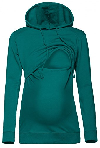 Happy Mama. Damen Kapuzenpullover Stillzeit Top Zweilagiges Sweatshirt. 272p (Teal, 46, 3XL)