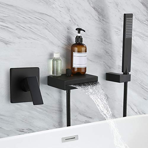 KES Bathtub Faucet Set Wall Mounted Tub Faucet with Shower Head Hand-Held Tub Faucet Waterfall Spout Matte Black (Rough-in Valve and Trim Kit Included), XB6220-BK