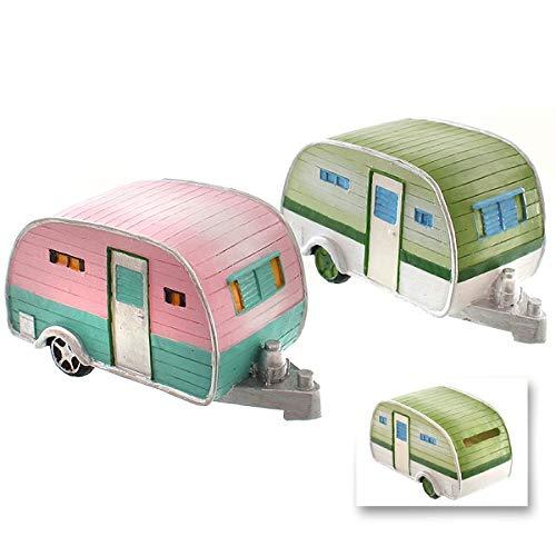 wunderschöne Spardose Spardose Reisekasse,Urlaubskasse Wohnwagen in rosa/türkis oder grün/weiß mit Gummistopfen