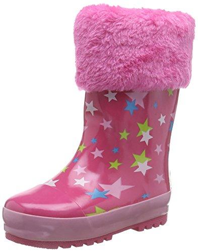 Playshoes Kinder Gummistiefel aus Naturkautschuk, warme Mädchen Regenstiefel mit Innenfutter, mit Sternen-Muster, Pink (original 900), 20/21 EU