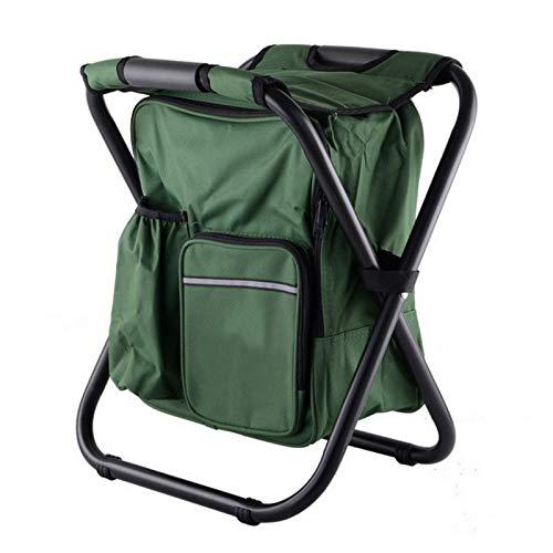 XJLJ Campingstuhl Bewegliche Faltbare Hocker Folding Camping Fischen-Stuhl Kleine Aluminium Oxford Sitz Cool Bag for Angeln Wandern im Freien Spielraum Garten Grill (Color : Green)