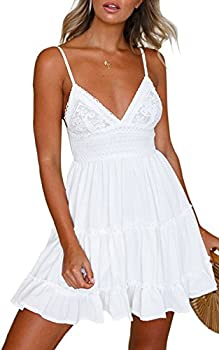 ECOWISH Womens V-Neck Spaghetti Strap Bowknot Backless Sleeveless Lace Mini Swing Skater Dress White X-Large