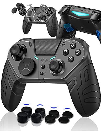 PS4 コントローラー iphone ipad IOS13/14 スマホ ANDROID PC MACBOOK 対応 (FPSゲーム強化版)背面 マクロ ボタン ターゲット ボタン 連射 連射ホールド 機能 付き(黒)