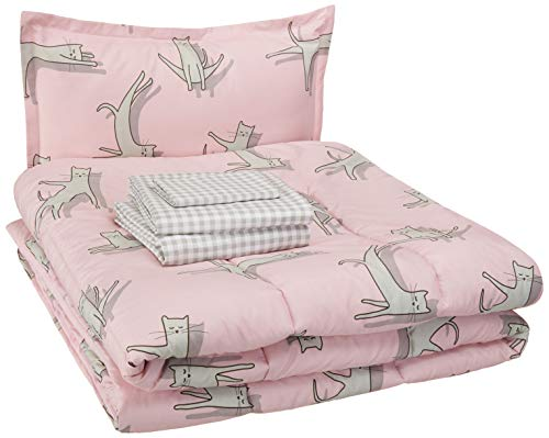 AmazonBasics Easy Care Super Soft Microfiber Kid's Bed-in-a-Bag Bedding Set - Twin, Pink Cats