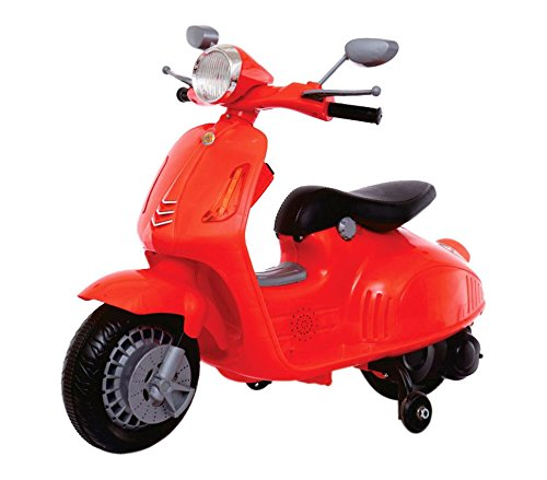 Mediawave Store Moto elettrica VESPINA per Bambini B38110 con rotelle 12V luci e Suoni MP3