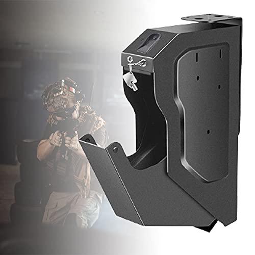 HNWTKJ Caja de Seguridad para Pistola, Caja Fuerte Portátil para Dinero, Caja de Seguridad Biométrica de Huellas Dactilares, Desbloqueo Rápido de Huellas Dactilares