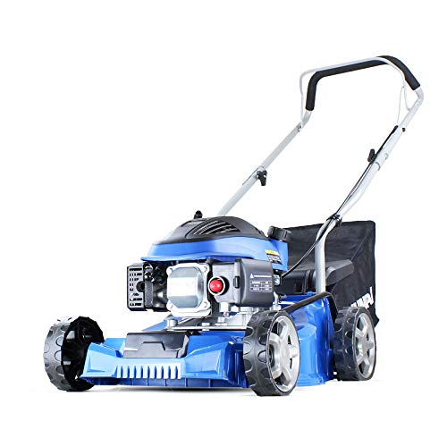 Hyundai HYM400P 79cc Push Rotary Petrol Lawnmowers, 7 Position Central Height Adjustment, 16 Inch 40 Centimetre Cutting Width, Polypropylene Deck, Included Engine Oil, Blue, 2.6 W