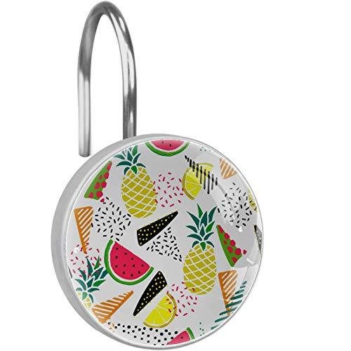 ATOMO Dekorative Duschvorhang-Haken, Pizza & Obst, 12 Stück, Duschvorhang-Haken, Ringe, rostwiderstandsfähig, Metall-Gleiter