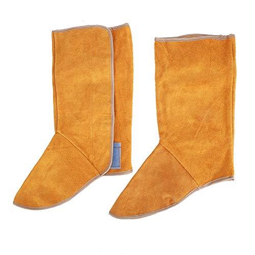 Cubierta de bota de soldadura,1 par de piel de vaca, resistente al calor, ignífuga, cubierta de bota de soldadura, protección de pie de pierna de soldador