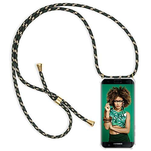 ZhinkArts Handykette kompatibel mit Samsung Galaxy S7 Edge - Smartphone Necklace Hülle mit Band - Handyhülle Case mit Kette zum umhängen in Grün Camouflage
