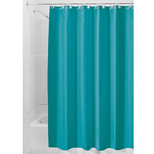InterDesign Poly SC/Liner Cortina de baño de tela, Cortina impermeable con dobladillo reforzado, Cortina de ducha lavable a máquina, 183,0 cm x 183,0 cm, Poliéster azul turquesa