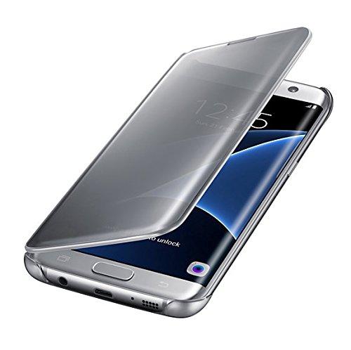 Samsung Clear View Cover Hülle für Galaxy S7 edge, silber