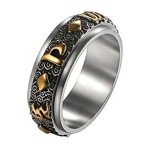 JewelryWe Schmuck Retro Herren-Ring Edelstahl 6 Wort Tibetischen Mantra Om Mani Padme Hum Spinner Ring Gebet Band Bandring Gold Silber Größe 67