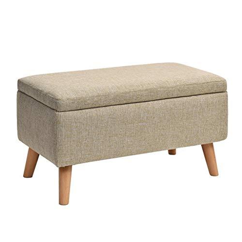 Taburete de almacenamiento de madera marrón para el reposapiés otomano, muy elástico, relleno de esponja tapizado, reposapiés para salón y dormitorio máx. 100 kg (40 x 40 x 42 cm) tapizado de madera