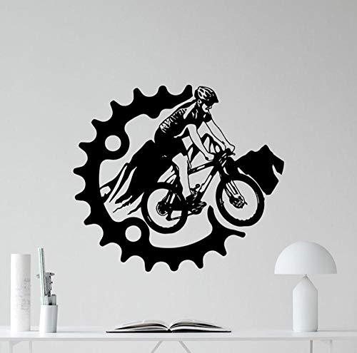 Pegatinas De Pared Mural Bicicleta De Montaña Bicicleta Deporte Aventura Cartel Vinilo Adolescentes Dormitorio Decoración Para El Hogar Equipo Creativo 42X47 cm