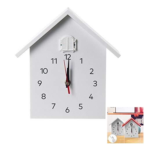 NANANA Kuckucksuhr Bauernhaus mit Pendel Wanduhr Design Uhr, Uhr Modern Pendeluhr Holz Kuckuck Zeit Chronometer, Timing-Funktion,Weiß,nottimed