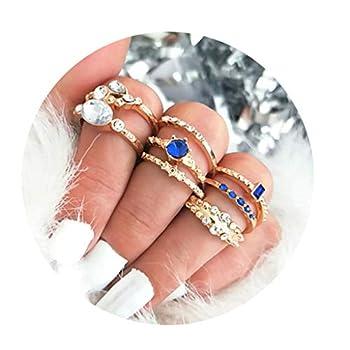 Eleusine Golden Unique Ring Set Punk Knuckle Rings for Women Finger Ring 8 PCS Ring