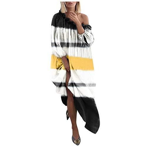 PAOLIAN Jupe Longue Ethnique rétro Grande Taille pour Femmes, Robe à Encolure dégagée imprimée à Manches Longues( M/L/XL/XXL/XXXL/XXXXL/XXXXXL )