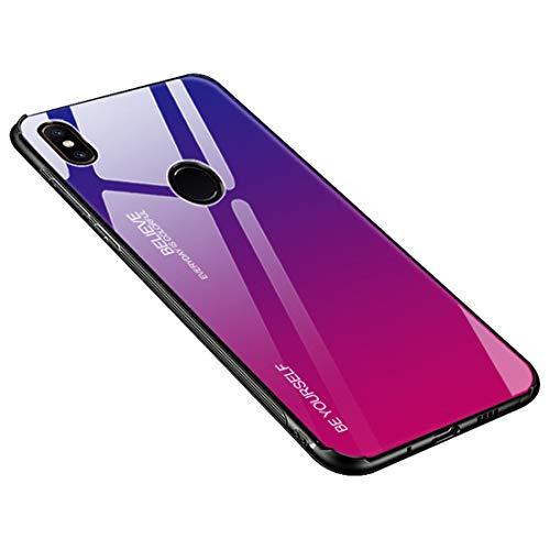 Funda Xiaomi Mi Mix 2S, Borde de Silicona TPU Suave Vidrio Templado Cubierta Trasera Carcasa Gradiente de Color Resistente a los Arañazos para Xiaomi Mi Mix 2S (Xiaomi Mi Mix 2S, Azul + rosa rojo)