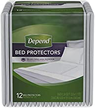 Depend Waterproof Bed Pads, Overnight Absorbency, 12 count, Disposable Underpads, 2 Packs of 12 (24 Count Total), White