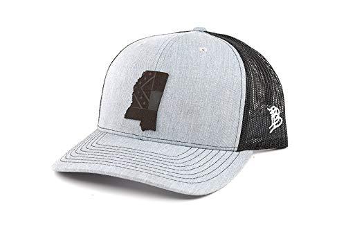Branded Bills Mississippi 'Midnight 20' Black Leather Patch Snapback Hat Curved Trucker - OSFA/Heather Grey/Black