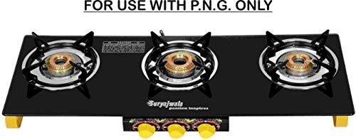 Suryajwala TOUGHENED Glass 3 Burner Frameless Gas Stove Yellow for Domestic PNG...