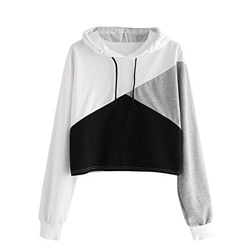 WAo Sudadera de manga larga con capucha para mujer, diseño de retazos de bloque de color, con cordón, para mujeres, adolescentes y niñas, blanco, M