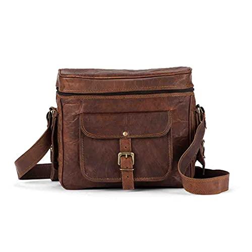 Leather Camera Bag, Camera Satchel Bag for Photographers, Vintage Shoulder Sling Camera Bag for Nikon, Canon, Sony DSLR, Real Leather Saddle Bag