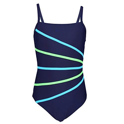 Aquarti Mädchen Badeanzug mit Spaghettiträgern Streifen, Farbe: Dunkelblau/Streifen Neongrün Hellblau, Größe: 128