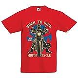 lepni.me Camiseta para Niño/Niña Live Young - Die Free - Nacido para Montar en Moto, Ideas de Regalos para Ciclistas, Lemas inspiradores (1-2 Years Rojo Multicolor)