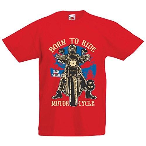 Camiseta Niños/Niñas Live Young - Die Free - Nacido para Montar en Moto, Ideas de Regalos para Ciclistas, Lemas inspiradores (7-8 Years Rojo Multicolor)