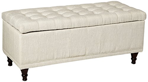 Homelegance Lift Top Storage Bench with Tufted Accents Beige Fabric