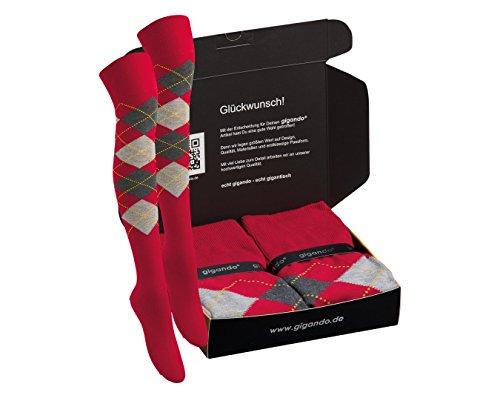 gigando   Colored Overknees for Girls and Ladys   Bunte Overknee Strümpfe aus Baumwolle für Damen   kein Druck am Abschlussrand   gute Dehnbarkeit   verstärkte Belastungszonen   2 Paar   rot kariert  