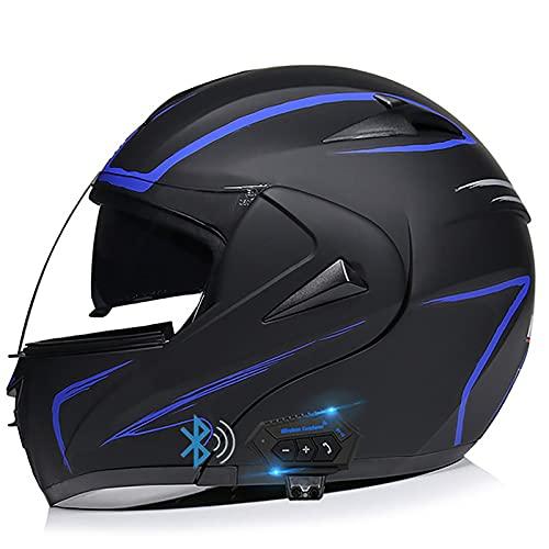 Bluetooth Casco de Moto Modular ECE Homologado,Casco de Motocicleta Flip Up Full Face para Mujer Hombre Adultos con HD Anti-Fog Doble Visera,per Scooter Biker Racing Casco T,M=57~58cm